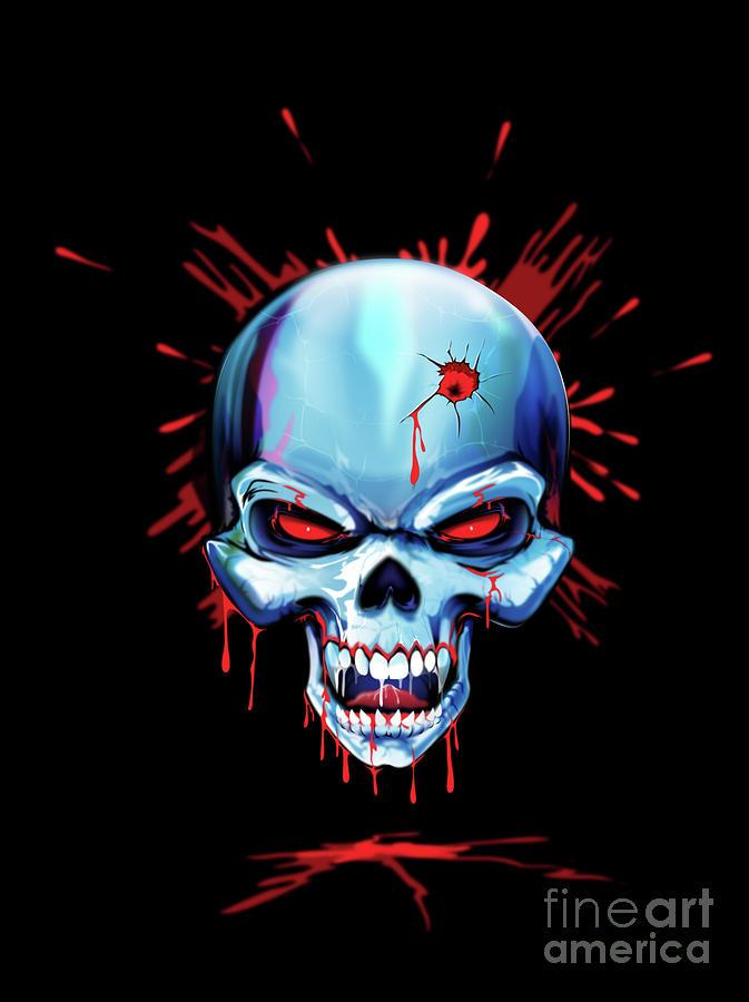 Skull Drawing - Head Shot by Brian Gibbs