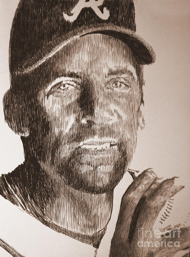 John Smoltz Drawing - Headed For The Hall by Robbi  Musser