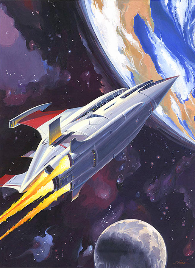 Space Ship Painting - Heading Home by Shawn Shea
