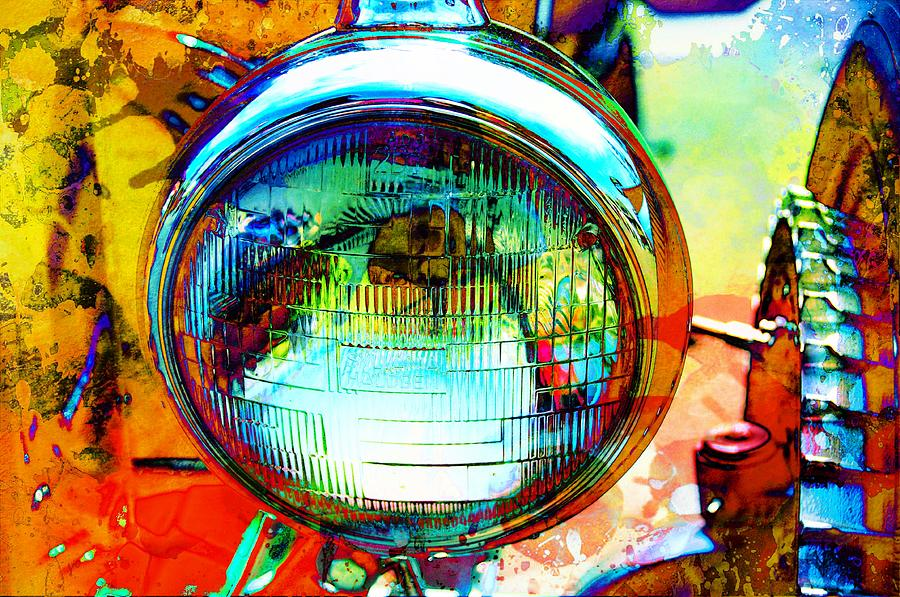 Headlamp Mixed Media - Headlight Classic by Anthony George