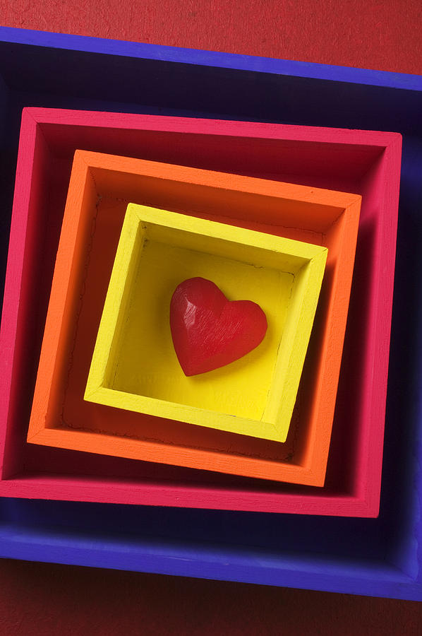 Red Photograph - Heart In Boxes  by Garry Gay