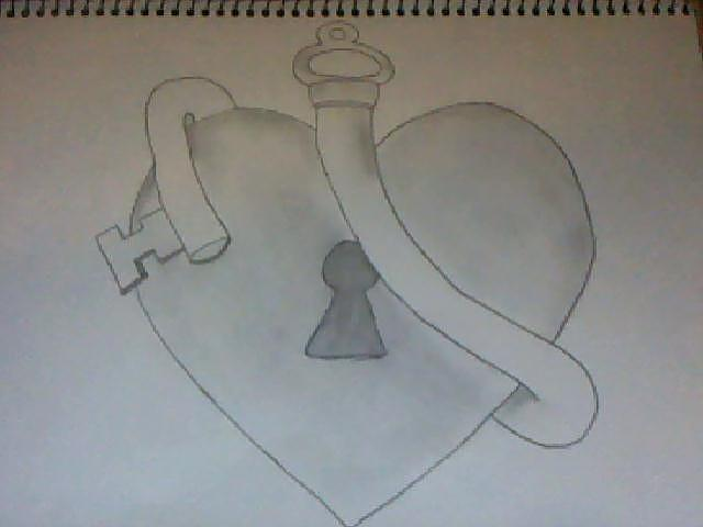 Heart Lock And Key Drawing By Morgan Dame