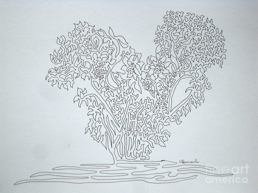 Single Line Text Art : Heart on one line drawing by vicki housel