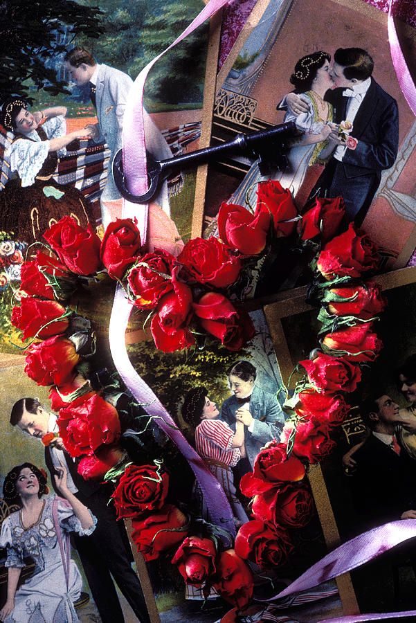 Red Photograph - Heart Shaped Roses And Old Postcards by Garry Gay