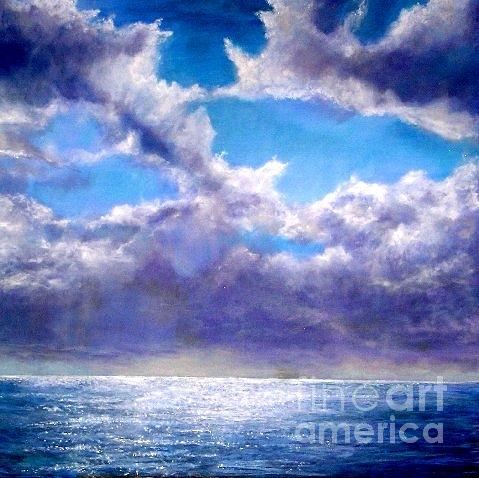 Seascape Painting - Heaven In The Sky And Sea by Marie-Line Vasseur