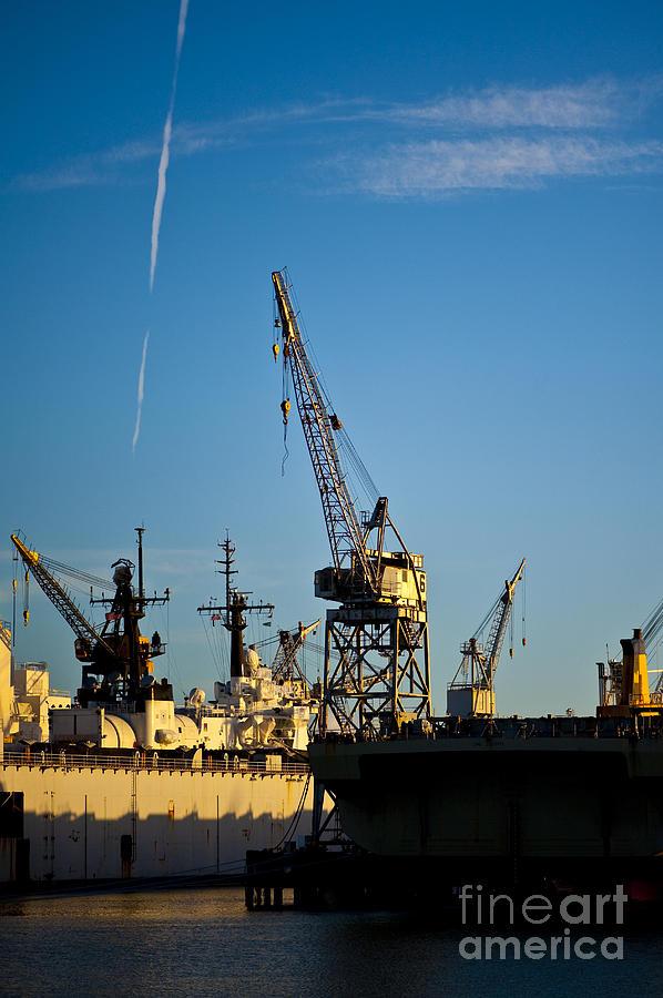 Architecture Photograph - Heavy Equipment Cranes At Drydock by Eddy Joaquim