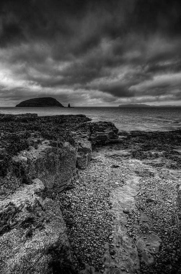 Sea Photograph - Heavy Sky In Monochrome by Andy Astbury