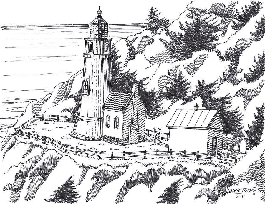 Historic Drawing - Heceta Head Oregon by Bill Friday