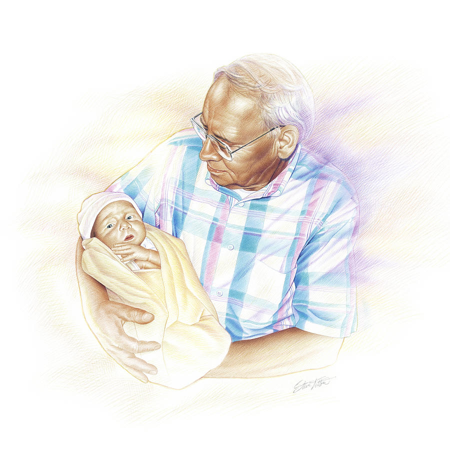 Grandpa Painting - Held From Heaven by Steven Tetlow