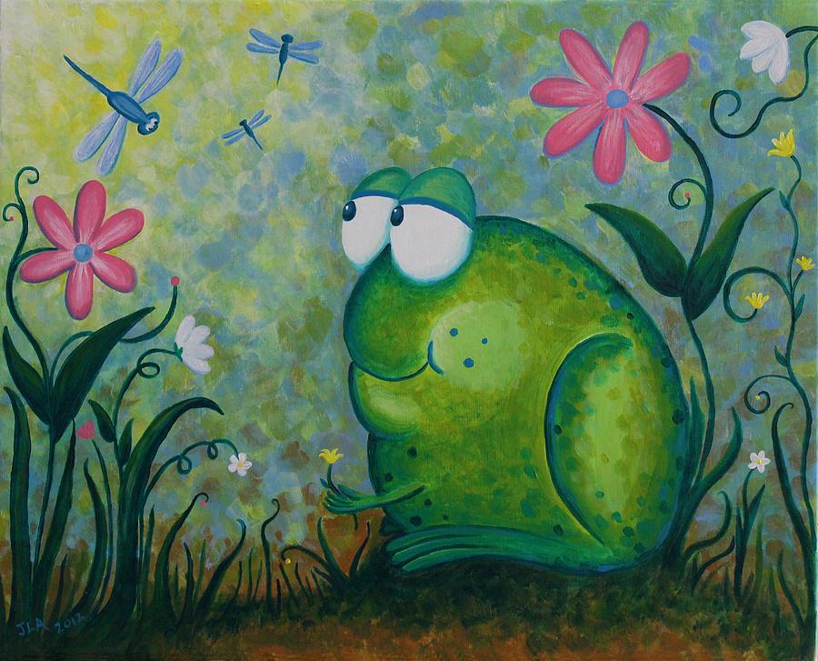 Frog Painting - Hello Dragonfly by Jennifer Alvarez