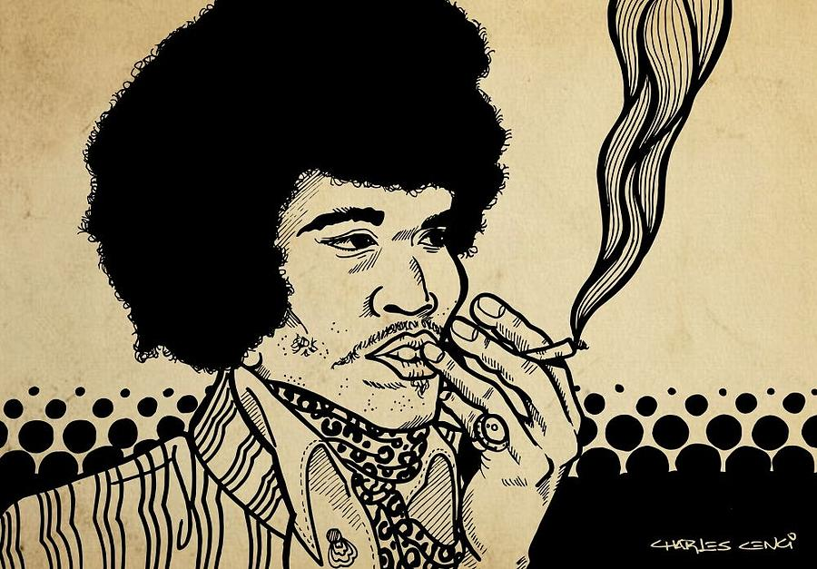 Hendrix Drawing by Charles Cenci