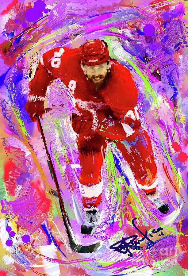Hockey Painting - Henrik Zetterberg by Donald Pavlica
