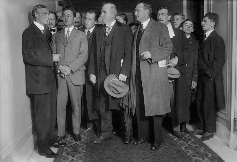 History Photograph - Henry Ford 1863-1947 With Reporters by Everett