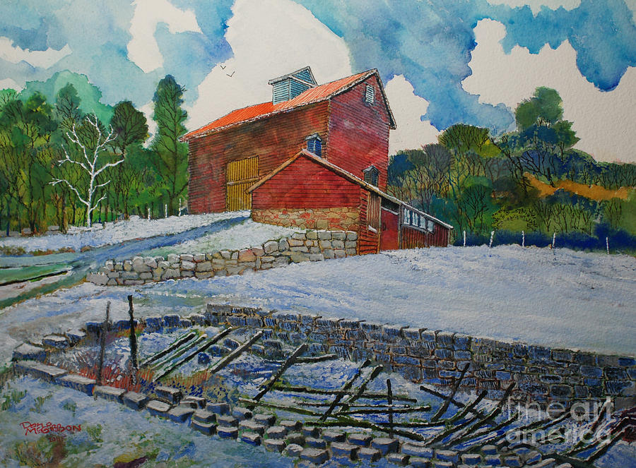 Red Barn Paintings Painting - Henry Fowler Farm by Donald McGibbon