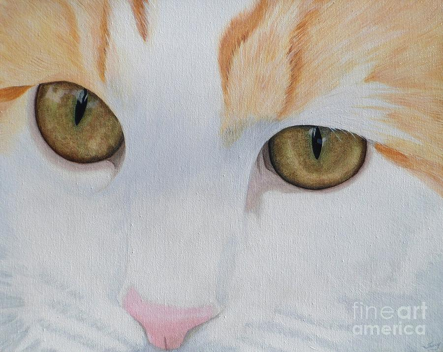 Cat Painting - Her Eyes by Tracy Ellis-Maxwell