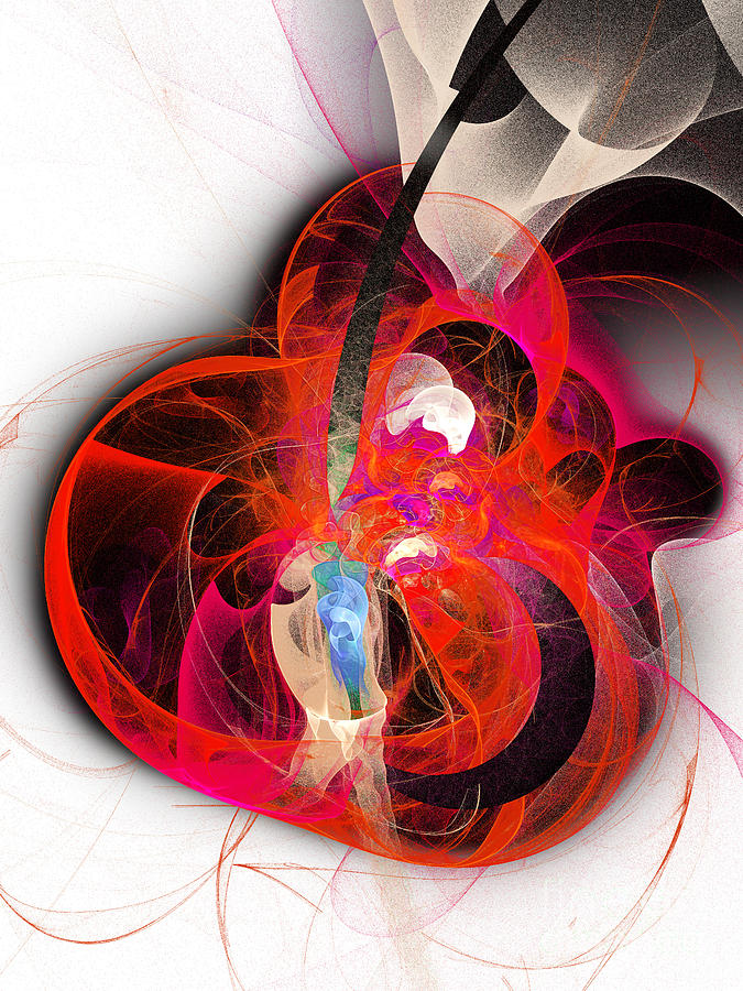 Fractal Digital Art - Her Heart Is A Guitar by Andee Design