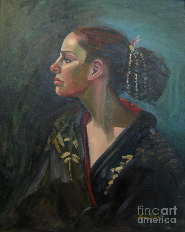 Profile Painting - Her Kimono by Lilibeth Andre