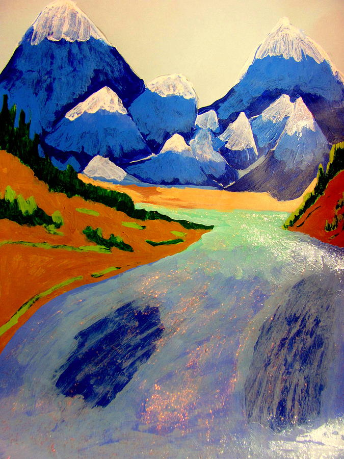 Acrylic Painting - Her Royal Glacier Mountain Waters by Amy Bradley