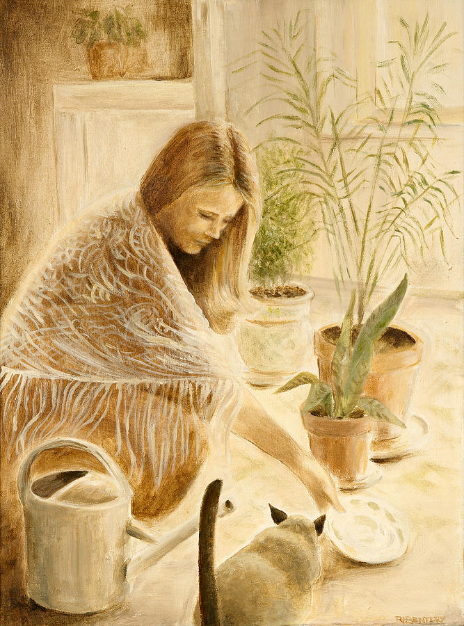 Kitty Painting - Here Kitty by Rita Bentley