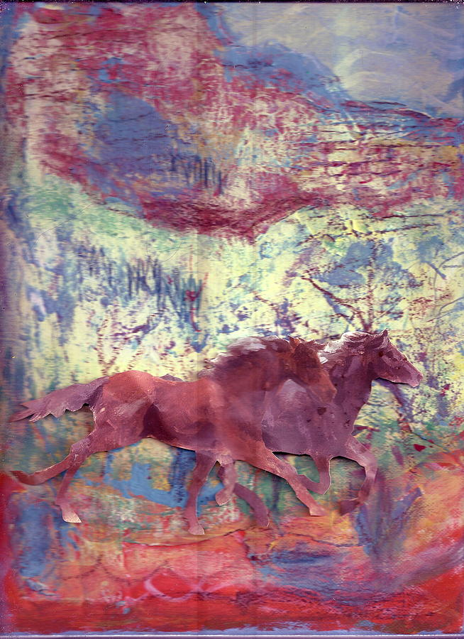 Horses Painting - Here We Go Again  by Anne-Elizabeth Whiteway