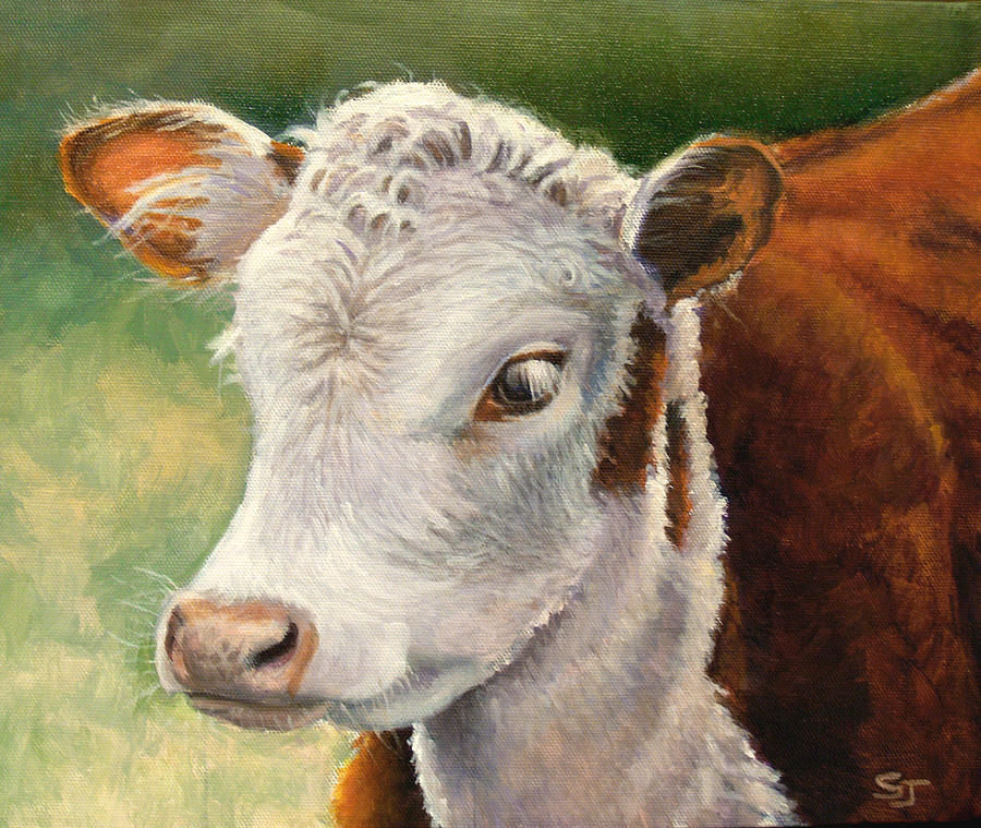 Cow Painting - Herford Calf  by Susan Jenkins