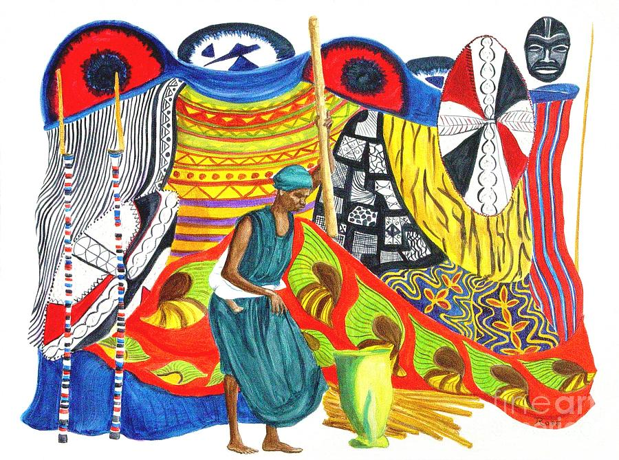 African Mask Painting - Heritage Instilled by Pauline Ross