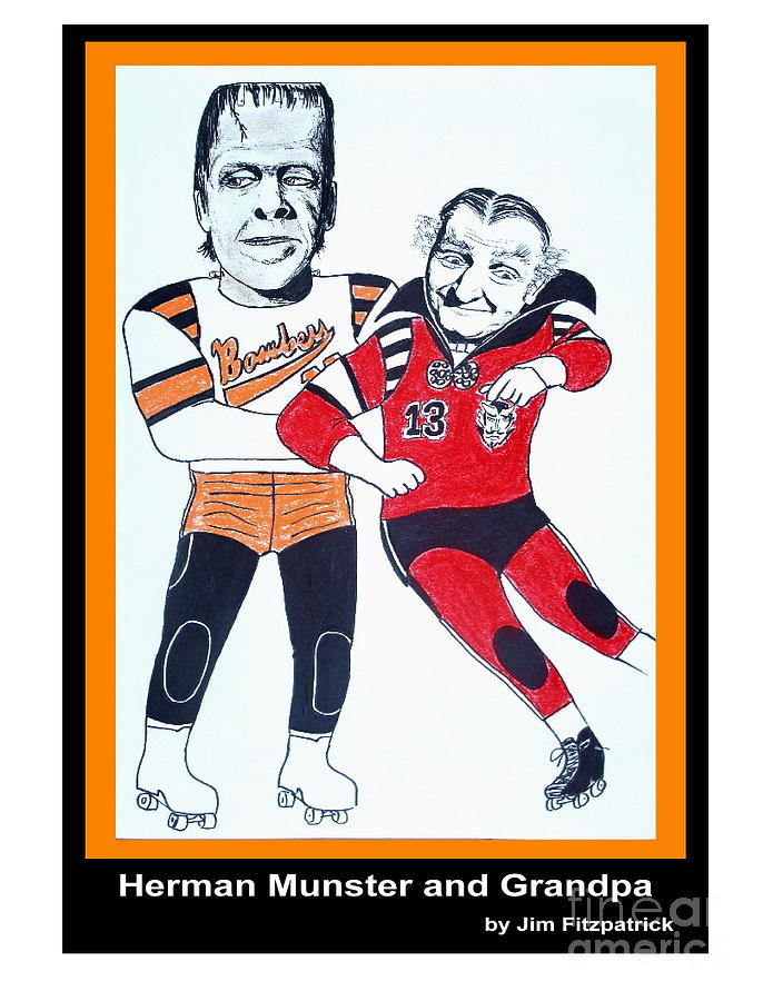 Jim Fitzpatrick Drawing - Herman And Grandpa Munster Playing Roller Derby by Jim Fitzpatrick