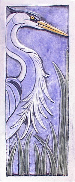 Nature Relief - Heron Ceramic Tile by Shannon Gresham