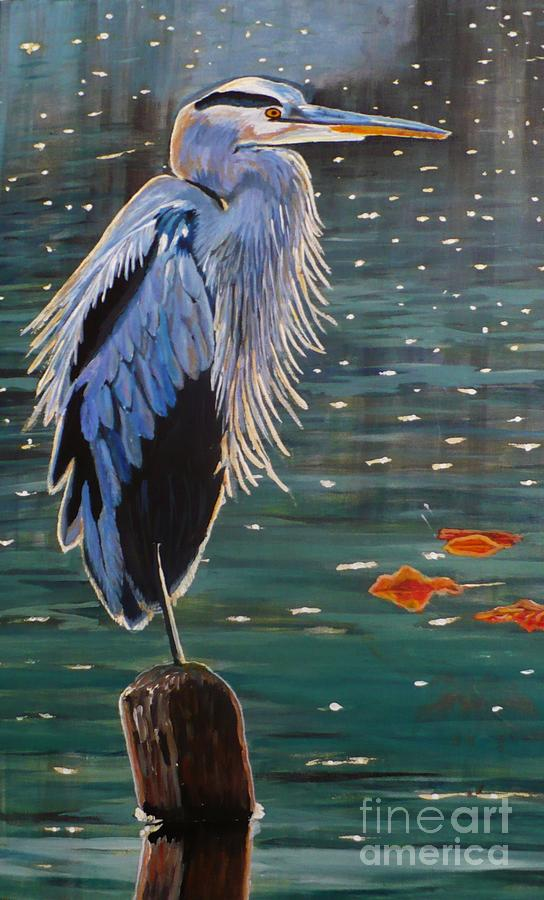 Sold Painting - Heron In Blue by Janet McDonald