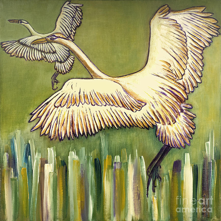 Beautiful Birds Painting - Wild Birds Flying Beautiful Nature Landscape Fine Art Prints Unique Spring Countryside Decoration  by Marie Christine Belkadi