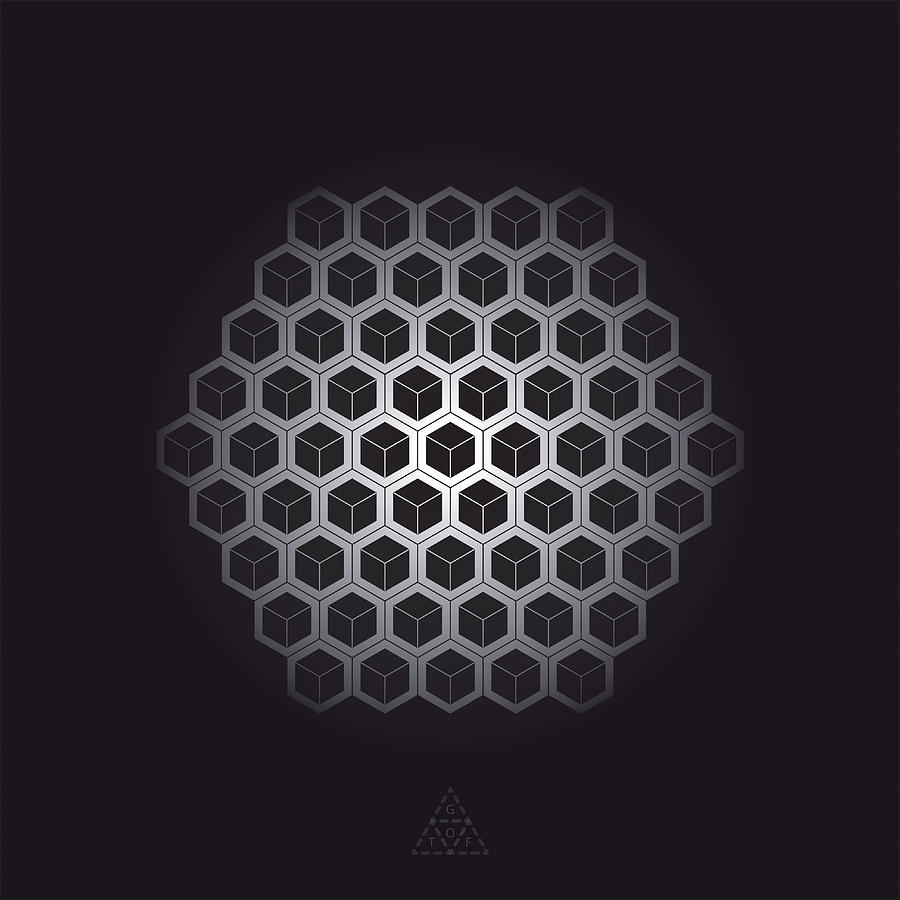Hexagon Digital Art - Hexagon Cube Cells V31.1 by Guardians of the Future