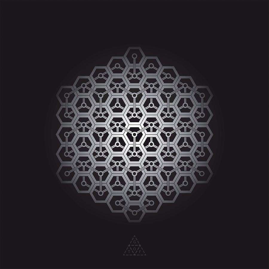 Hexagon Digital Art - Hexagon Cube Link V32.1 by Guardians of the Future