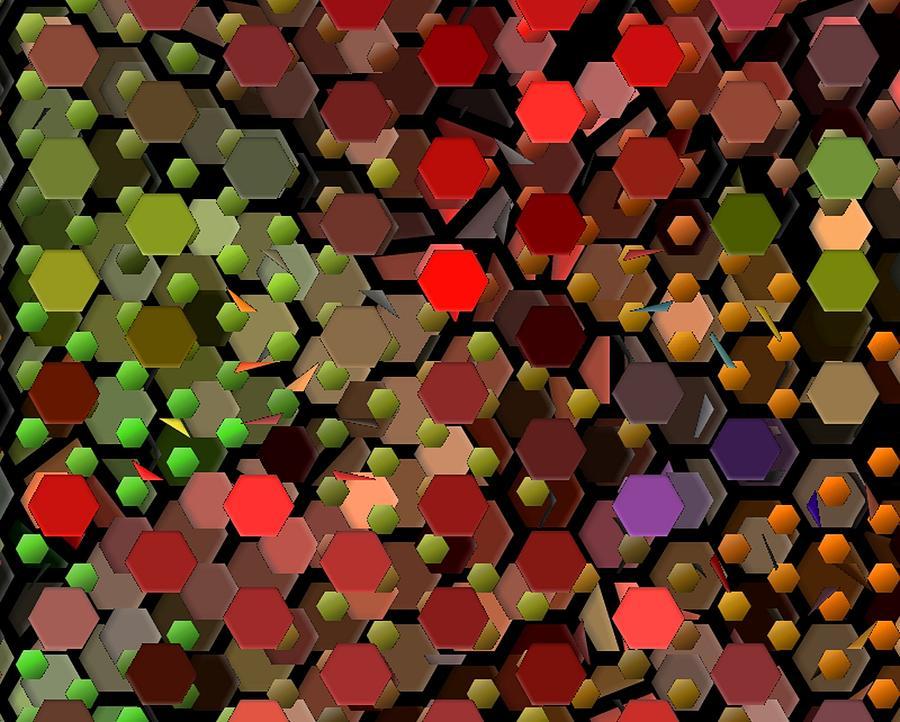 Hexagon Digital Art - Hexagon Feast by Rod Saavedra-Ferrere