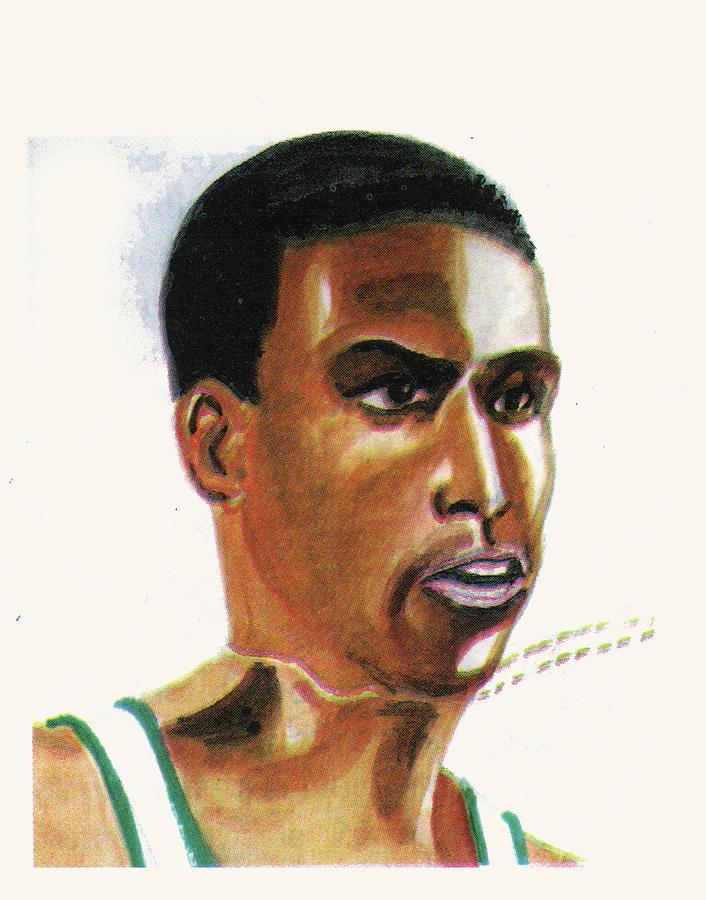 Sports Painting - Hichan El Guerrouj by Emmanuel Baliyanga