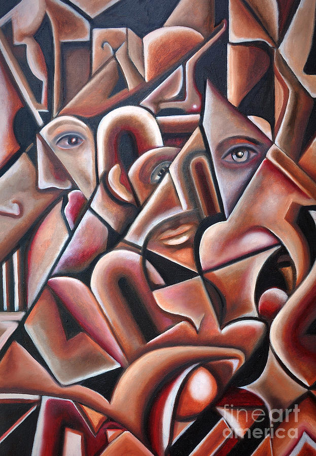 Red Painting - Hidden Faces by Angela Waye