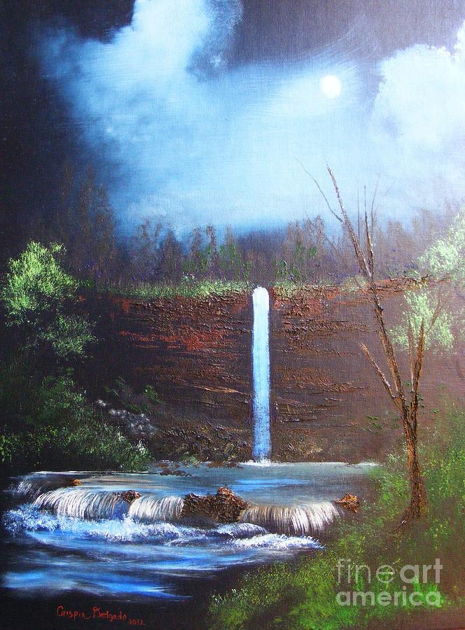 Falls Painting - Hidden Falls by Crispin  Delgado