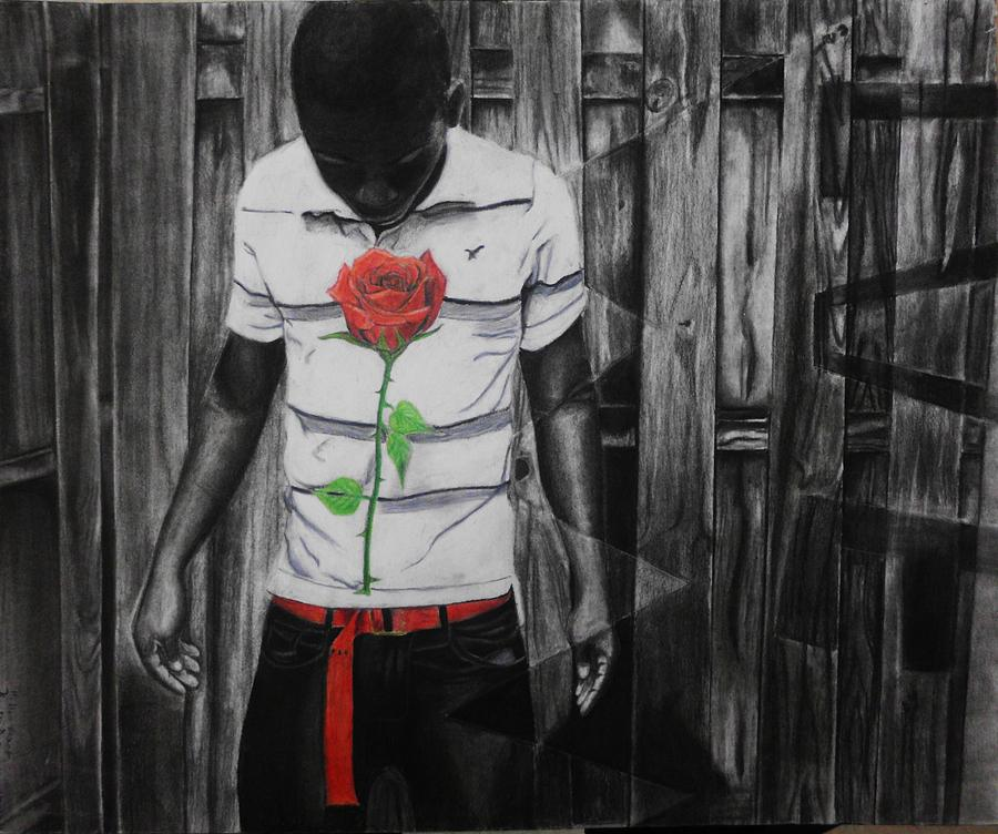 Charcoal Roses Heart Emotional Human Feelings Drawing - Hidden Heart by Kodjo Somana