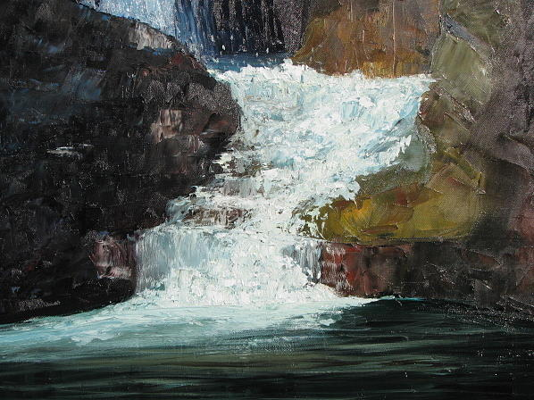 Landscape Painting - Hidden Waterfall by Iris Nazario Dziadul
