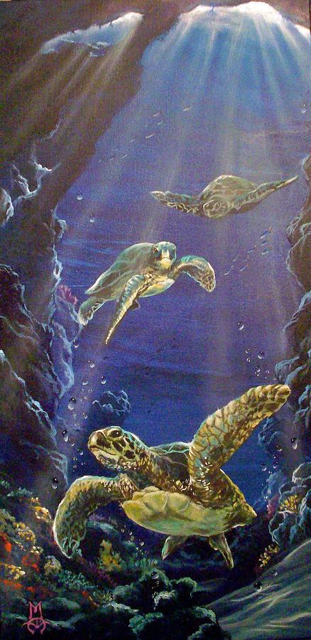 Turtle Painting - Hide And Seek by Marco Antonio Aguilar