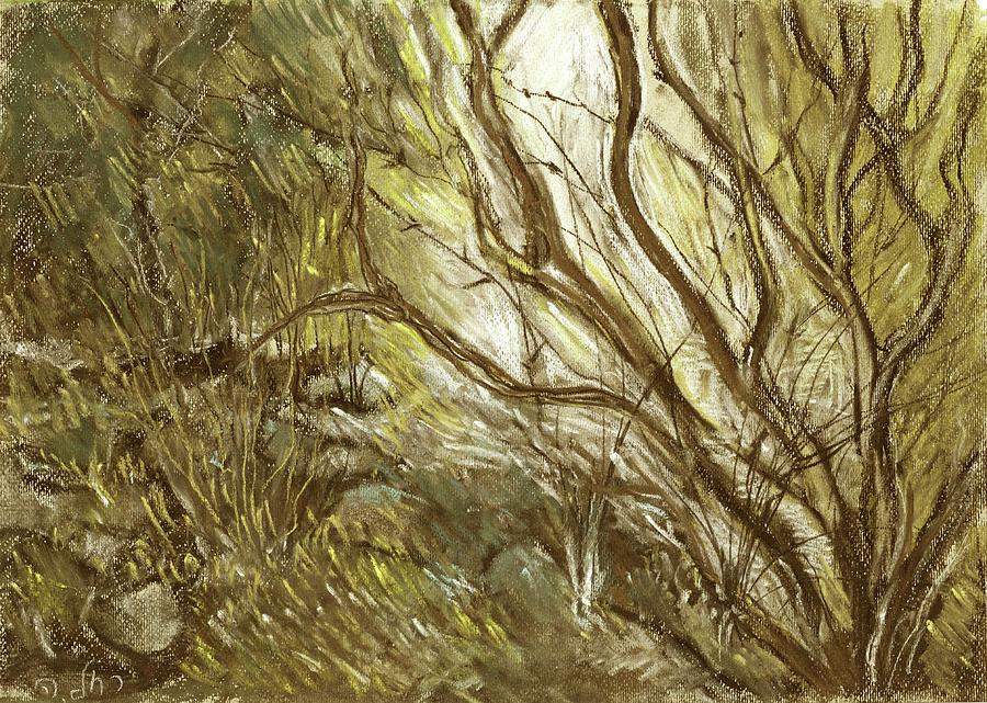 Hideaway Painting - Hideaway Plants In Brown Yellow And Green Branches Leaves Trunks Stones by Rachel Hershkovitz