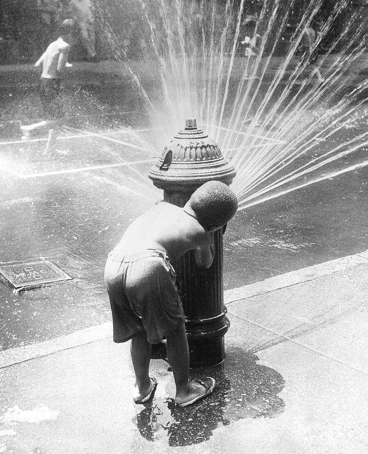 Child Photograph - Hiding Behind Hydrant by Archive Photos