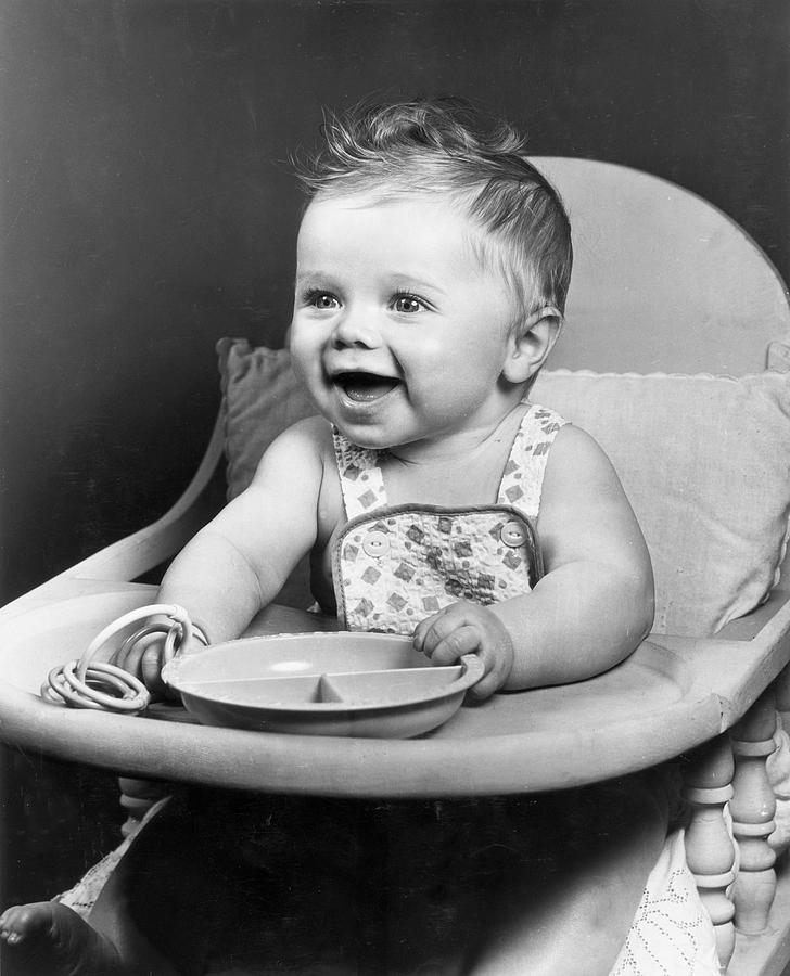 Baby Photograph - High Chair Hijinks by Archive Photos