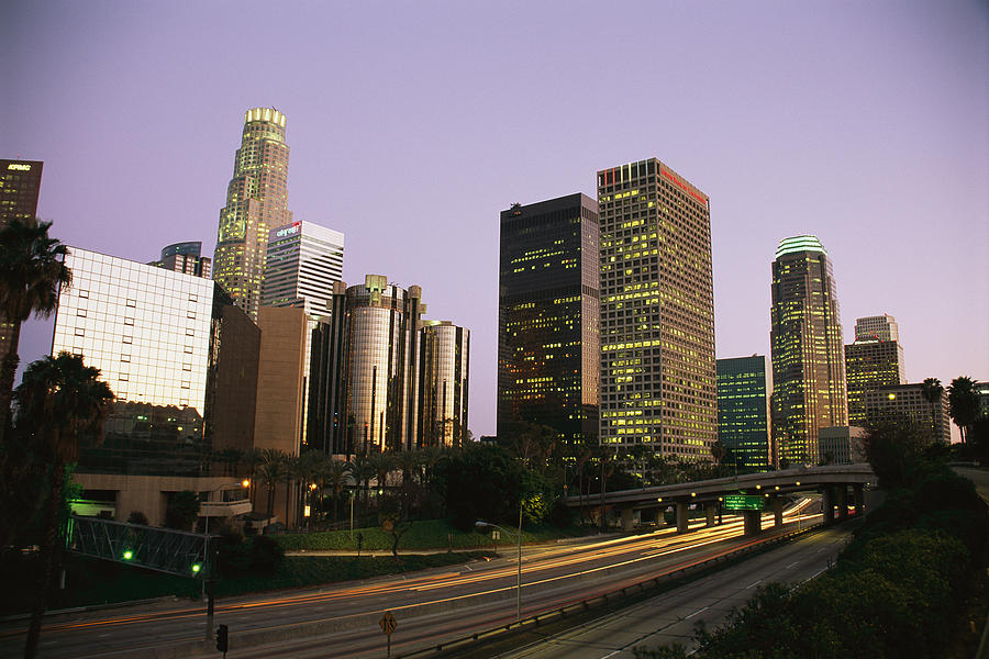 North America Photograph - High Rises Along The Harbor Freeway by Richard Nowitz