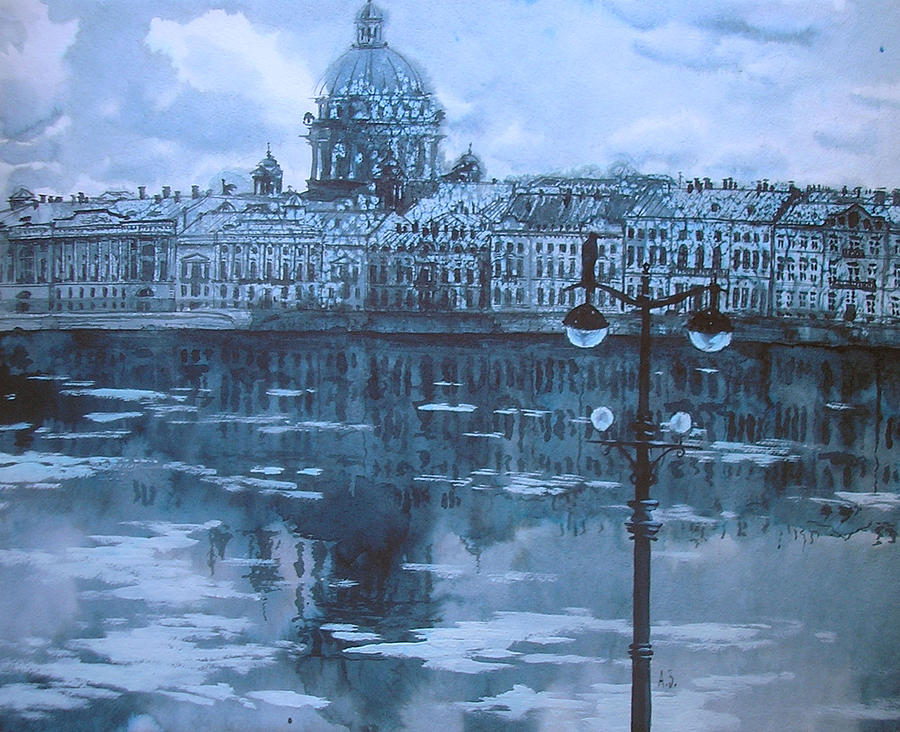 Graphic Arts Drawing - High Water by Aleksey Zuev