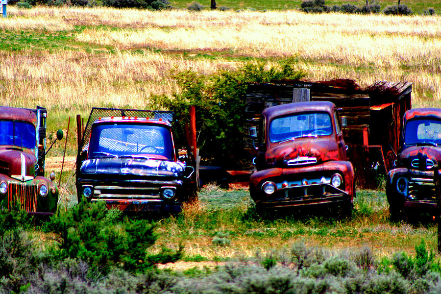 Classic Old Cars Digital Art - Hill Billy Used Auto Sales by Andrea Camp