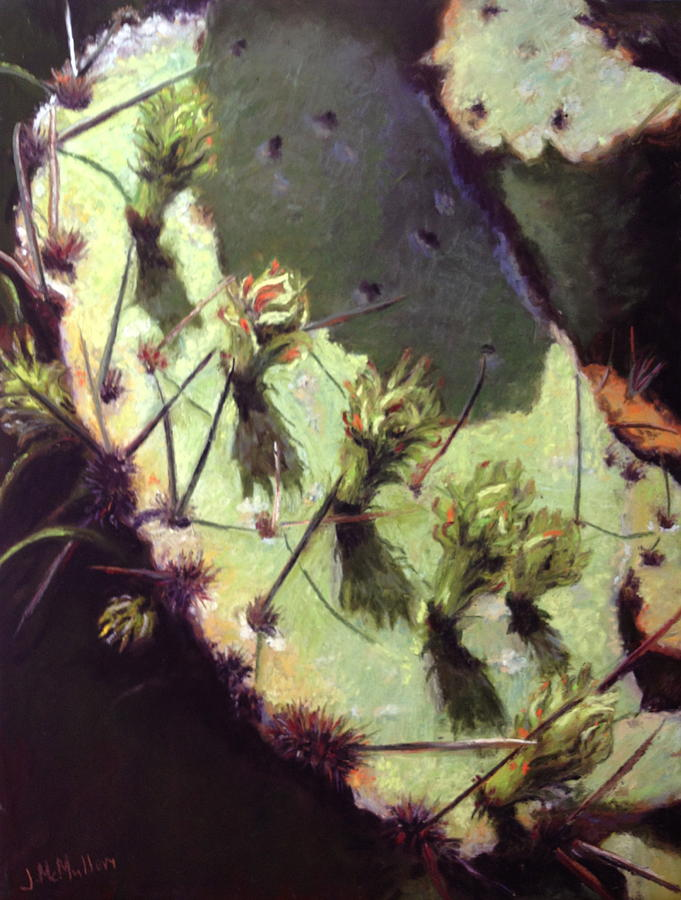 Pastels Painting - Hill Country Cactus by Jacquie McMullen