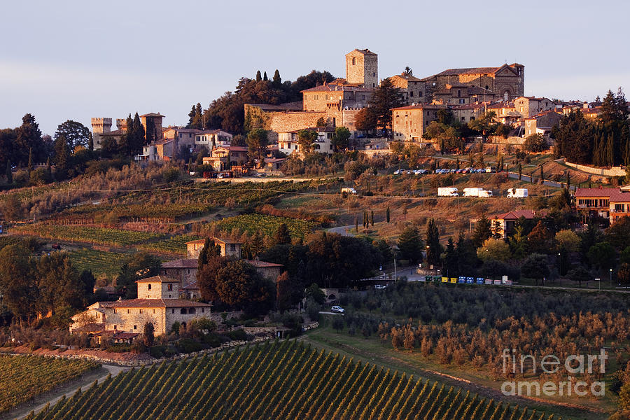 Agriculture Photograph - Hill Town Of Panzano At Dusk by Jeremy Woodhouse