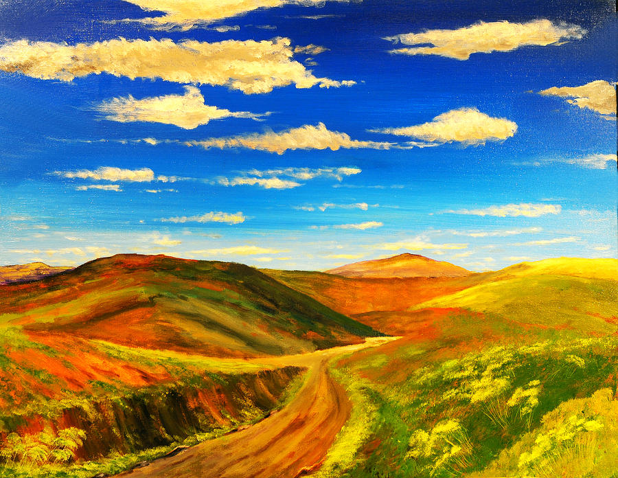 Landscape Painting - Hill View Valley by Nelson