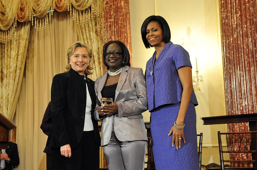 History Photograph - Hillary Clinton And Michelle Obama by Everett