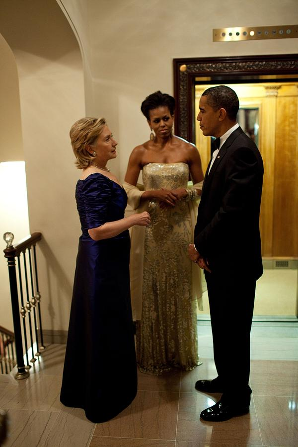 History Photograph - Hillary Clinton Chats With President by Everett